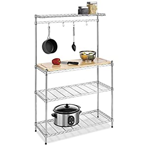 Whitmor Supreme Kitchen Cart Wood & Chrome 41rykWugsyL
