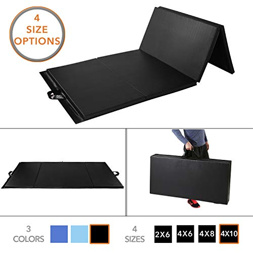 Day 1 Fitness Folding Gymnastics Gym Mat - 4'x10' Black - High-Density Foam, Exercise, Yoga, Gymnastics, Crossfit, Aerobics, Tumbling Mats - Eco-Friendly Foldable Pads