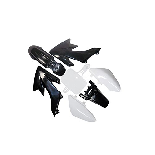 Pit Bike Plastic Fender Kit Fairing for HONDA XR50 CRF50 SSR SDG 107cc 110 125 Dirt Bike (Black/White) by Power Sports Galaxy