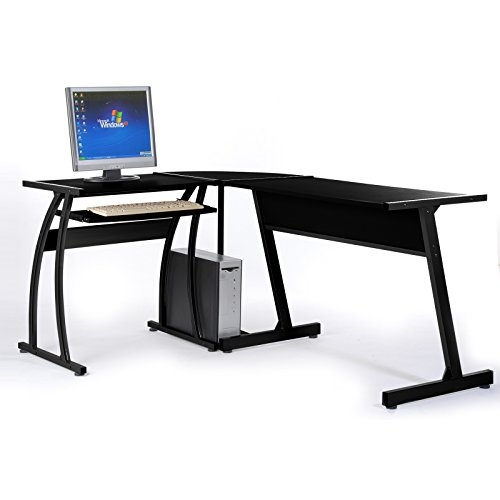 Cheerwing L-Shaped 3-Piece Office Computer Corner Desk with Pull-out Keyboard Stand (Black)