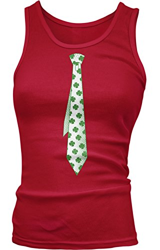 Amdesco Junior's 4 Leaf Clover St Patricks Day Fake Tie Tank Top, Red Small