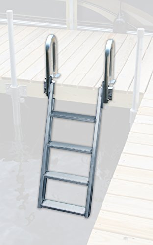 (Great Northern 20 Degree 4 Step Swing-up Dock Ladder - Heavy Duty Wall Welded Aluminum)