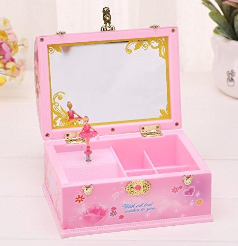 VEA-DE Music Box di Lusso, Valigia Treasure Box Design Dresser Rotating Ballerina Music Box con Specchio per Il Trucco