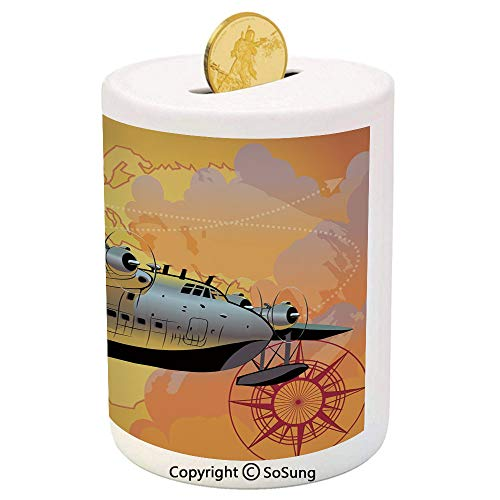 Vintage Airplane Decor Ceramic Piggy Bank,Retro Seaplane in Sky World Map Compass Adventure Travel Journey Decorative 3D Printed Ceramic Coin Bank Money Box for Kids & Adults,Multicolor (In Bulk World Coins)