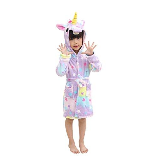 Hanax Kid Bathrobe Unicorn Flannel Ultra Soft Plush Comfy Hooded Nightgown Homewear,Starry Sleepwear,10-11T ()
