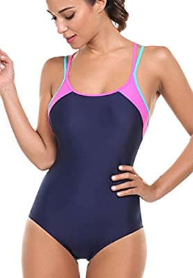 Avidlove One Piece Swimsuit Womens Splice Dual Crossback Athletic Bathing Suit S-XXL