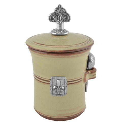 Oregon Stoneware Studio Fleur de Lys Salt Pot with Pewter Finial, Latte