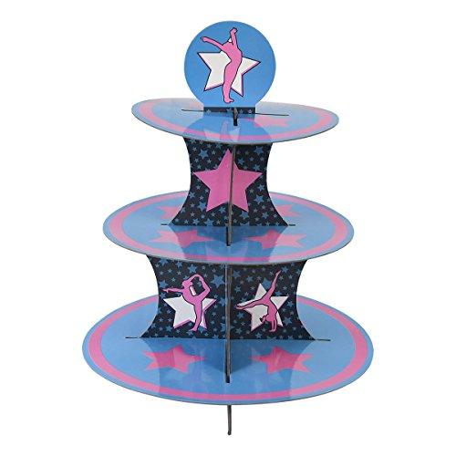 Gymnastics Cupcake Stand & Pick Kit, Gymnast Party Supplies, Decorations, Birthdays, Gymnastic Competition, Cake Decorations, 3 Tier Cardboard