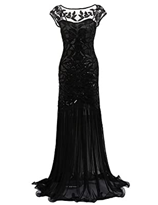 Yealsha Girl Women 's 1920s Vintage Sequin Gatsby Maxi Long Evening Prom Dress