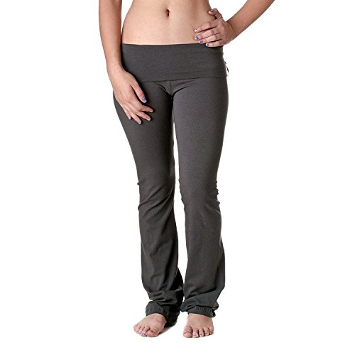 Slimming Rollover Bootleg Yoga Comfy Pants (Large, Charcoal) (Lounge Rollover Pants)