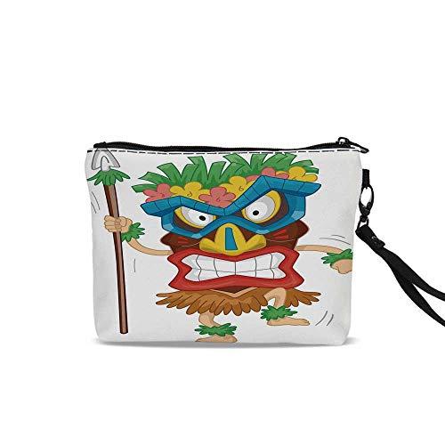 Tiki Bar Decor Portable Travel Makeup Cosmetic Bags,Native Man Wearing Mask Illustration Cartoon Tribal Costume Primitive Ritual Decorative For Women Girl,9