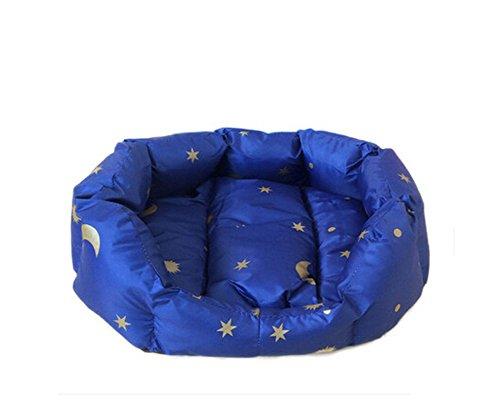Stars Moon Printing Waterproof House Pet Dog Cat Bed Cushion (L, Blue)