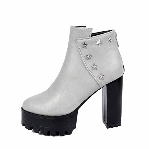 AllhqFashion Womens Zipper High Heels PU Solid Low Top Boots With Metal Nail, Gray, 38