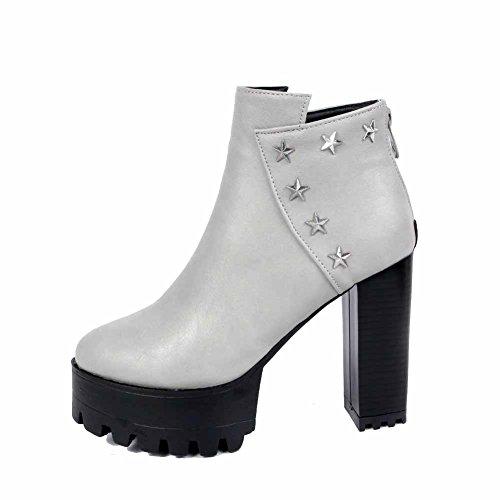 Allhqfashion Womens Rits Hoge Hakken Pu Stevige Lage Laarzen Met Metalen Spijker, Grijs, 40