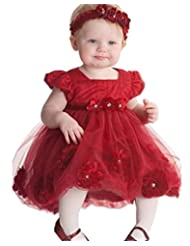 Zhuannian Baby Girls Tulle Flower Princess Tutu Dresses with Flower Headband