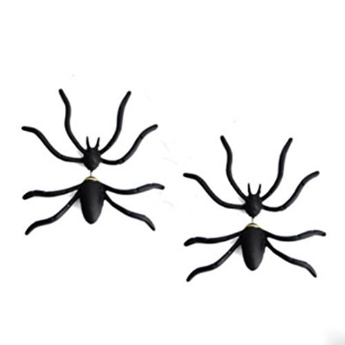 CiCy 3 Pair Trendy Halloween Fashion Black Spider Earrings Punk Unisex Earring