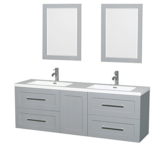 Wyndham Collection WCR450072DDGARINTM24 Olivia Double Vanity Set with Acrylic Resin Countertop, Integrated Sinks, 24