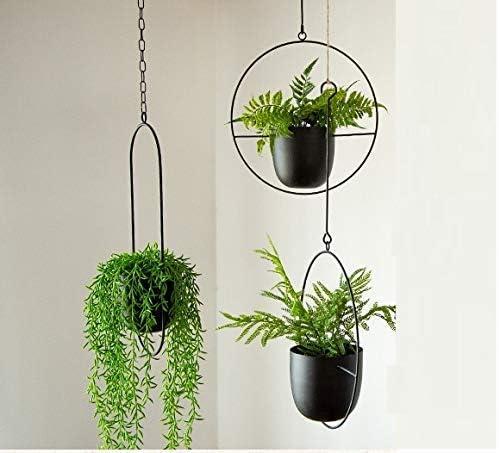 stile minimalista KJSMA portavaso da appendere al soffitto in metallo colore nero per interni ed esterni
