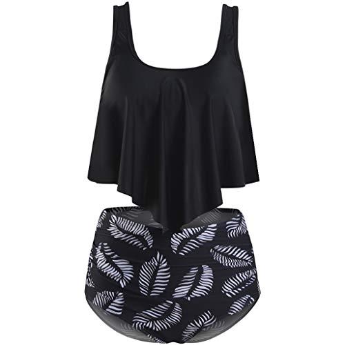 iPOGP Women Two Piece Plus Size Sexy Backless Halter Dot Printed Swimwear Set(Black,L) -