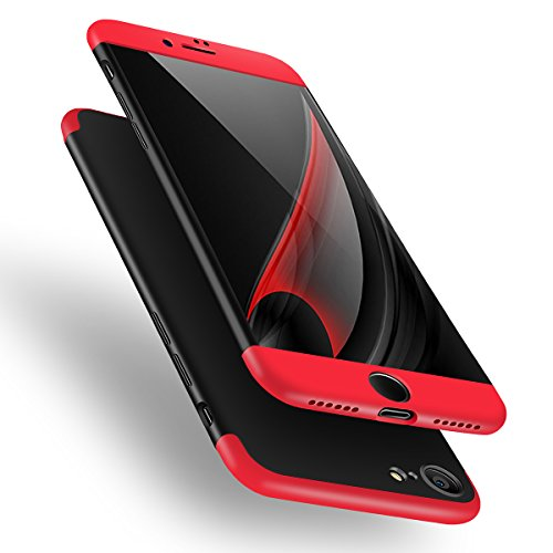 Ai-case ZY91519 3 in 1 Ultra Thin and Slim Hard PC Case, Anti-Scratches Premium Slim 360 Degree Full Body Protective Cover for Apple iPhone 7 -Black/Red