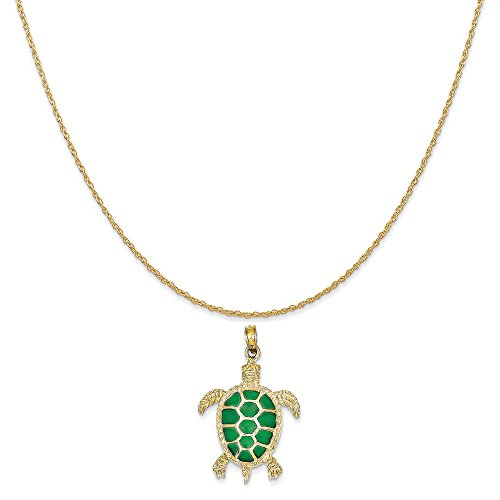 14k Yellow Gold Green Translucent Acrylic Sea Turtle Pendant on 14K Yellow Gold Rope Necklace, 18