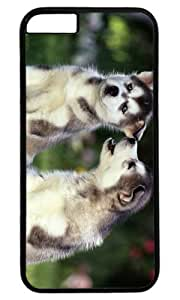 Lovely Siberian Husky Puppies DIY Hard Shell Black Designed For iphone 6 Plus Case