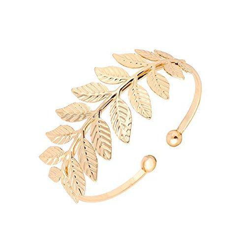 Gold Leaf Branch Opened Cuff Adjustable Bangle Wire Bracelet (Gold) - Gold Leaf Cuff