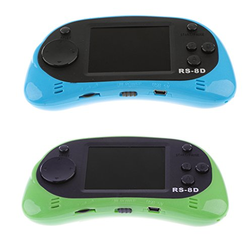 MagiDeal 2Pieces 2.5'' RS-8D Handheld Video Gaming System W/ 260 Retro Games Green+Blue