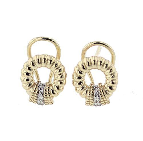 14K Gold Diamond Earrings for Women Round Millgrain Style 1/10ctw Diamonds 12.5mm ()