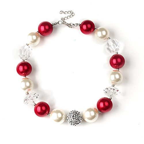 Bouren Kids Chunky Bubblegum Red and White Bead Necklace (Beads Necklaces Christmas)