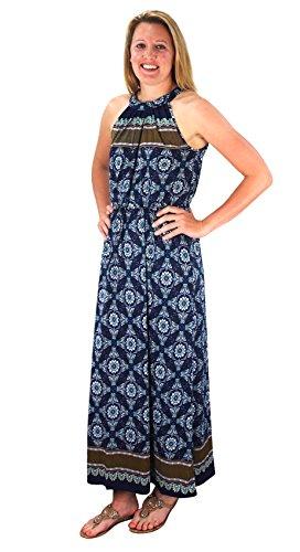 Peach Couture Bohemian Paisley Print Scoop Neckline Summer Halter Maxi Dress (Large, Blue Gold)