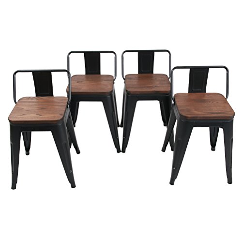 Modern Industrial Metal Stool Low Back With Wooden Seat [Set Of 4] Stackable for Indoor/Outdoor 18