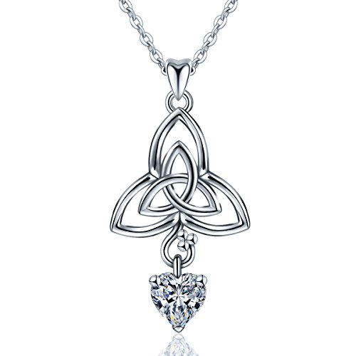 AEONSLOVE Women 925 Sterling Silver Celtic Knot Irish Claddagh Love Heart Gemstone Pendant Necklace,18''