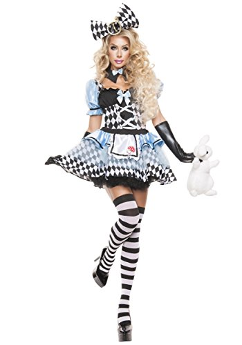 Starline Women's Glam Alice Sexy Cosplay Costume Set, Blue/Black, X-Large (Red Alice In Wonderland Dress)