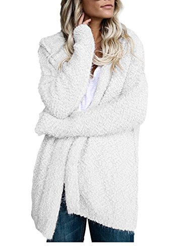 Rosemia Long Sleeve Open Front Faux Fur Hooded Cardigan Coat For Women (Large, White) (Cardigan Hooded Pink)