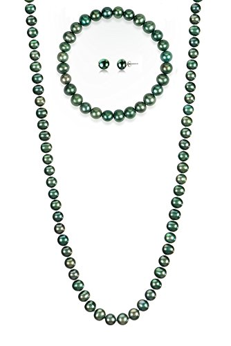 7-7.5mm Cultured Freshwatrer Pearl Necklace Bracelet and Earring Set in .925 Sterling Silver (Green)