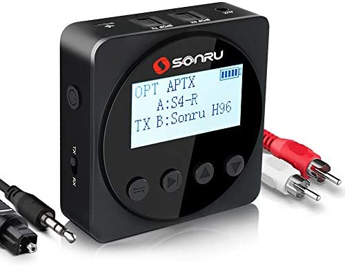 Amazon Com Sonru Bluetooth 5 0 Transmitter Receiver With 1 7 Led Screen Wireless Audio Adapter For Tv Home Stereo System Headphone Optical Toslink 3 5mm Aux Rca Support Aptx Ll Aptx Hd 24hrs Playtime