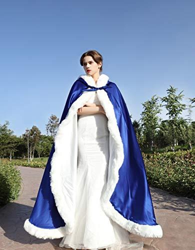 Chaude Mariée Capuchon Capuche Cape Longue Femme De À Blue Manteau Powder Mariage Beautelicate Fourrure w8pfBq