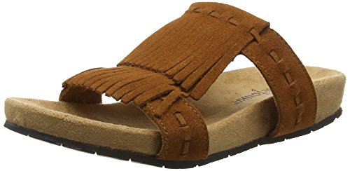 Daisy Womens Sandals (Minnetonka Womens Daisy Fringe Suede Slip On Sandal 8 M US Brown)