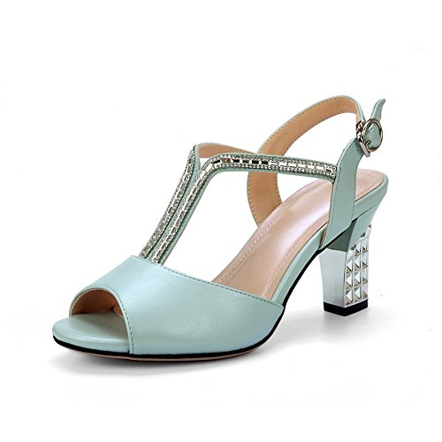 Kitten Heels Rhinestones Sandals Studded Soft Heel Blue 1TO9 Material Womens 1qFHIwB