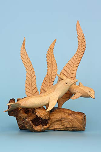 G6 Collection Wooden Hand Carved Dolphin Statue Sculpture Wood Decorative Home Decor Accent Figurine Handcrafted Handmade Seaside Tropical Nautical Ocean Coastal Decoration (2 Dolphins with Seaweed)