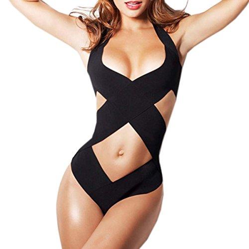 Zeagoo Sexy V-neck Halter Hollow Swimwear Cross Bandage One-piece Beach Swimwear