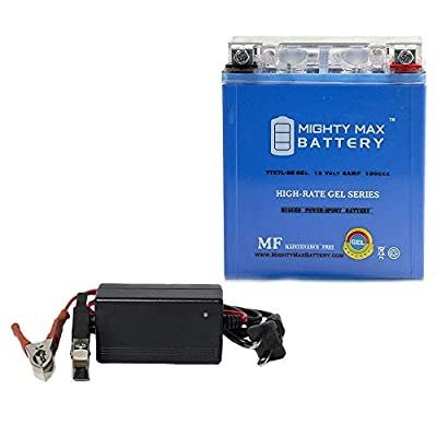 YTX7L-BS GEL Battery Replaces Go Cart ATV Scooter + 12V 1Amp Charger - Mighty Max Battery brand product