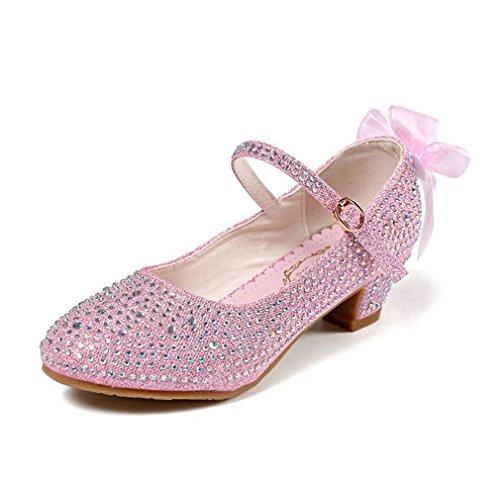 CYBLING Kids Dress Shoes Girls Glitter Rhinestone Mary Jane Pumps (Toddler/Little Kid/Big Kid) Pink