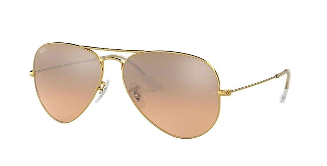 d9cc736e4 Amazon.com: Ray-Ban RB3025 001/3E Gold Frame / Brown-Pink Silver Flash Lens  55mm: Clothing