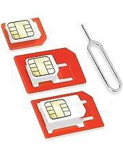 Wicked Chili 4-in-1 simkaart-adapterset (Nano, Micro, Standard, Eject Pin) voor mobiele telefoon, smartphone en tablet (precies passend, klikbeveiliging)