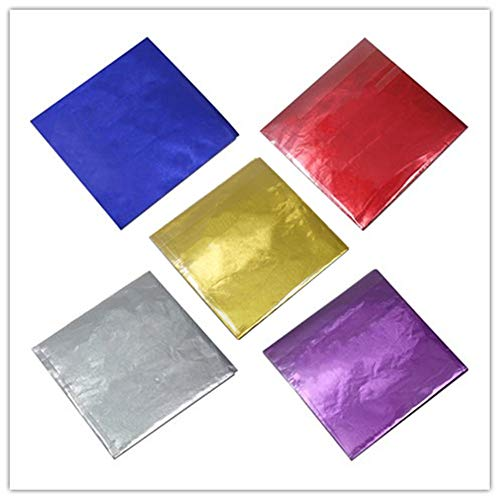 500 Pcs 5 Colors Chocolate Candy Wrappers Aluminium Foil Paper Wrapping Papers Square Sweets Lolly Paper Food Safety Candy Tin Foil Wrappers for Candy Packaging Decoration (4x4 inches) ()