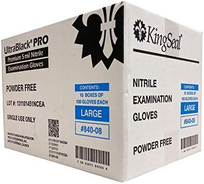 KingSeal ExtremelyBlack-PRO Large Nitrile Medical Grade Exam Gloves, Black, 5 MIL, Textured Fingertips - 1 Box of 100 Gloves