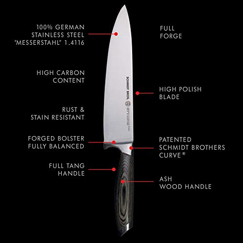 Schmidt Brothers - Bonded Ash 8'' Chef Knife, High-Carbon German Stainless Steel Cutlery by Schmidt Brothers - Brother Brands Inc (Image #1)