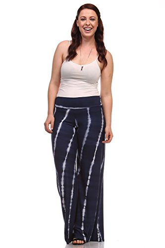 Womens Plus Size Palazzo Pants High Waist Wide Leg Pants XXX-Large Navy